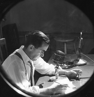 Edward R. Murrow in his office at CBS, 1957. Photo courtesy of the University of Maryland Library.