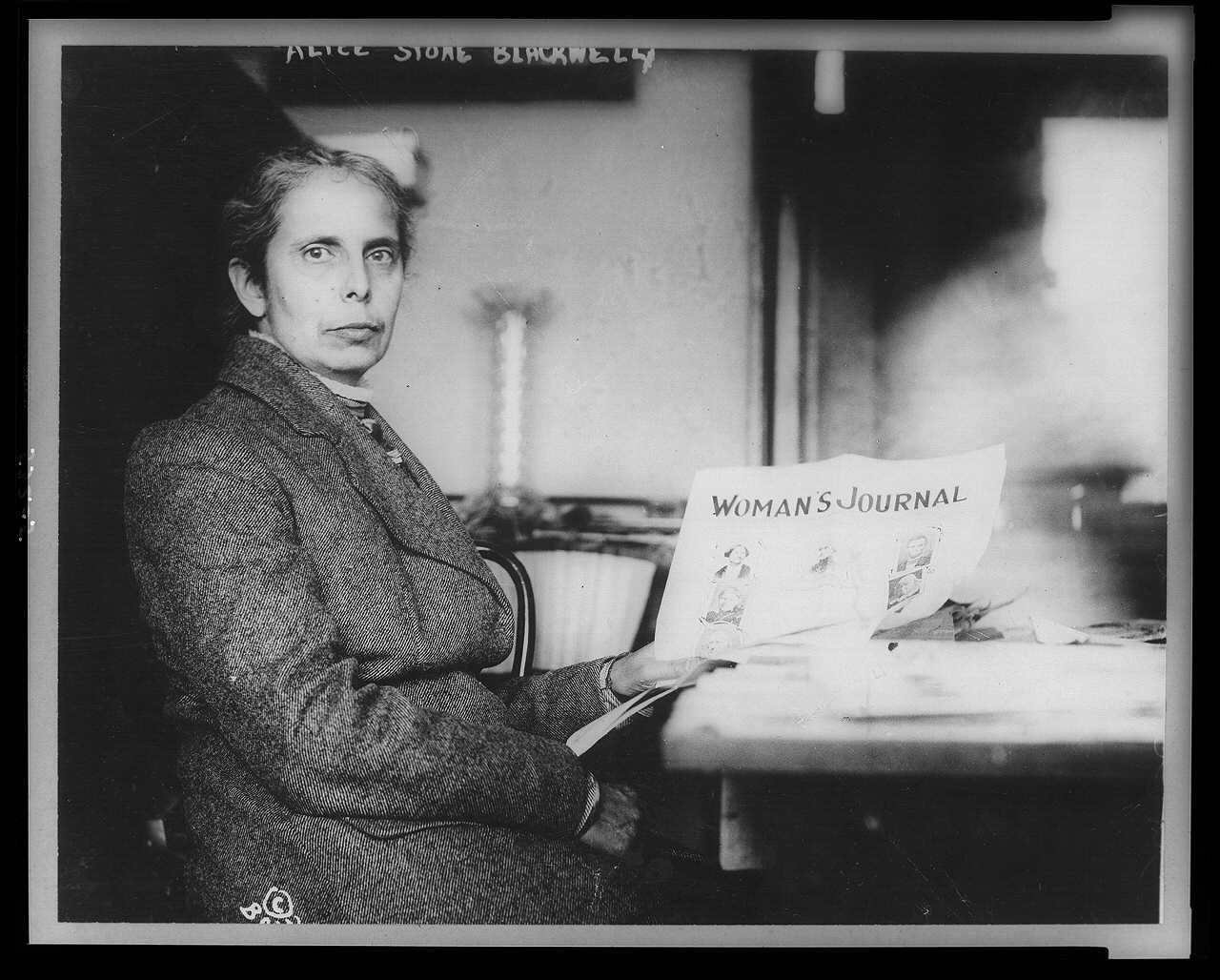 Alice Stone Blackwell with a copy of Woman's Journal