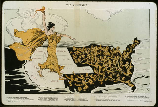 More than four million women had voting rights—all in the West—equal to men in eleven states by the end of 1914, leaving women elsewhere still reaching for the light of Liberty's torch of freedom. Puck magazine. Feb. 20, 1915.