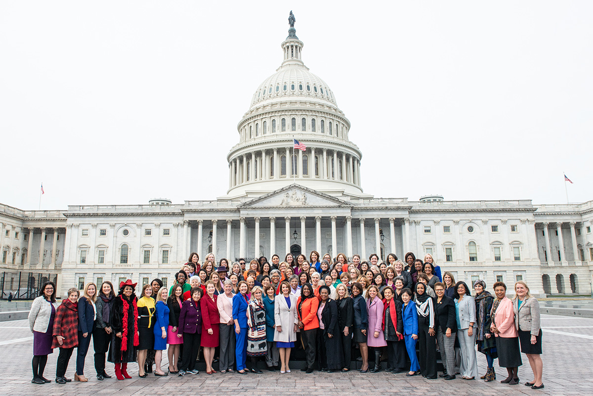 Ninety-one House Democratic women of the 116th Congress gathered in front of the Capitol after their swearing-in, the largest number of women in a party caucus in the history of Congress. Jan. 7, 2019. Office of the Speaker of the House