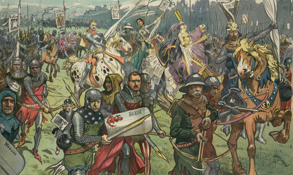 The Crusaders by C. Hassman, 1906. The illustration depicts a large group of politicians and journalists as knights on a crusade against graft and corruption; many carry large pens like a lance. Library of Congress