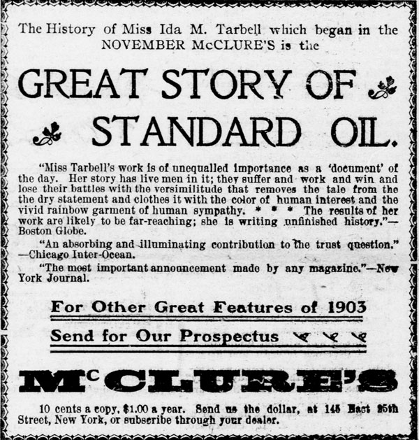 Advertisement by McClure's Magazine promoting Tarbell's exposé, in the Watertown Republican. Watertown, Wis., Jan. 10, 1903.