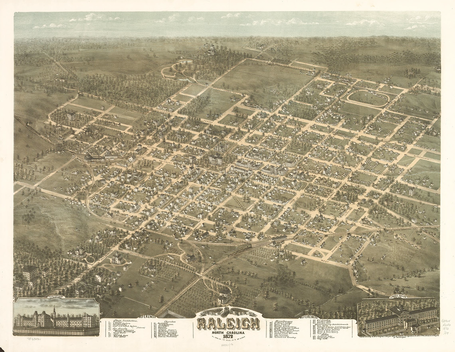 Bird's-eye view of the city of Raleigh, North Carolina, 1872. Dorothea Dix Hospital. Library of Congress