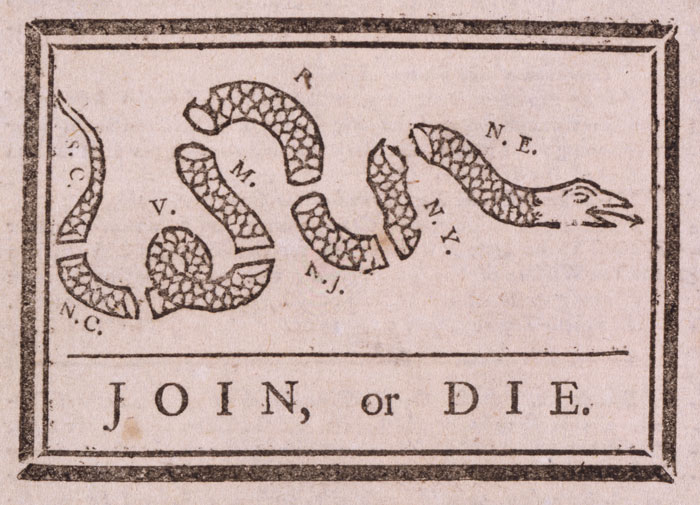 Ben Franklin's warning to the British colonies in America 'join or die' during the French and Indian War in the Pennsylvania Gazette, May 9, 1754. The cartoon reappeared in colonial newspapers during the Stamp Act crisis and the Revolutionary War.