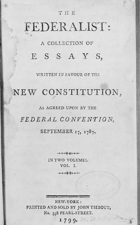 A 1787 newspaper advertisement for The Federalist Papers, an eighty-five-essay series that appeared in the New York Independent Journal and other newspapers. Alexander Hamilton, James Madison, and John Jay wrote The Federalist Papers under the pen name 'Publius.' Library of Congress