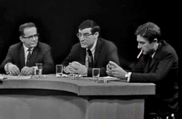 "Professor Bernard Fall of Howard University (left) and journalists David Halbertstam (center) and Neil Sheehan (right) on WGBH's National Education Television, ""At Issue; The Stakes in Vietnam."" April 20, 1964. American Archive of Public Broadcasting"