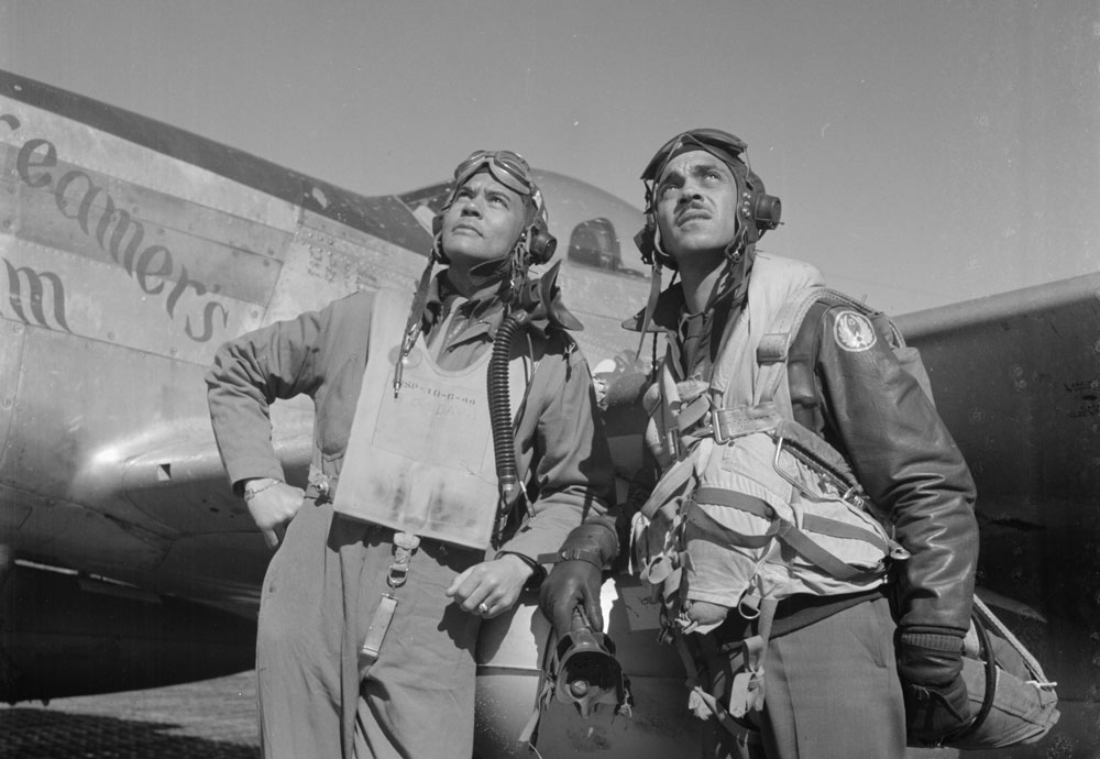 Col. Benjamin O. Davis and Edward C. Gleed at air base in Ramitelli, Italy, in March 1945 by Toni Frissell.